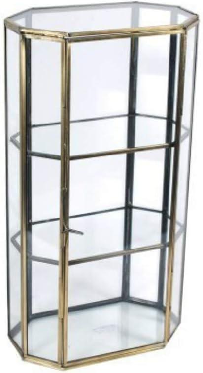 CAPRILO Vitrina Decorativa Pequeña de Cristal y Metal. Joyeros. Adornos y Esculturas. Decoración Hogar. 34 x 18 x 11 cm.