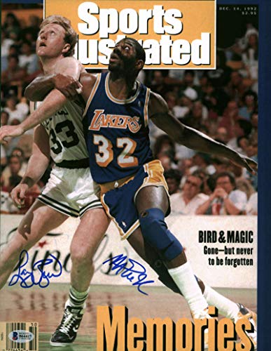 Larry Bird Magic Johnson Signed Autographed 11x14 SI Magazine Photograph BAS from Autographs-For-Sale