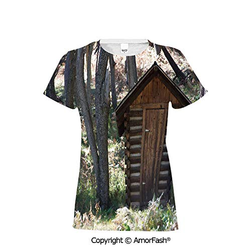 Printing Crew Neck T-Shirt of Girls,Polyester,Outhouse,Wooden Primitive Life Bar (Best Juice Bars Los Angeles)