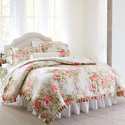 BrylaneHome Brianna Cabbage Rose Comforter - Taupe Floral Multi, Queen