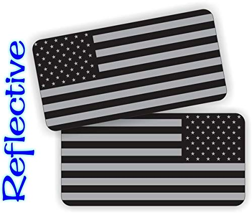 Pair - REFLECTIVE Stealthy American Flag Hard Hat Stickers | Black Ops Decals | Tactical Gear Survival Labels | USA Flags Toolbox Helmet Patriotic Old Glory (Hard Hat Stickers Construction)