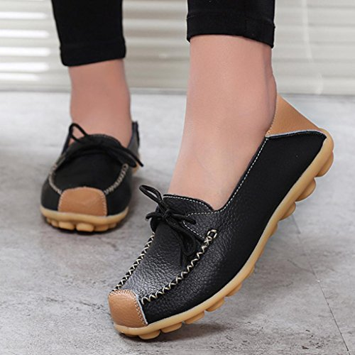 Transer Ladies Leisure Soft Flats Shoes, Women Slip on Work Loafers, Comfortable Leather Lazy Shoes Black