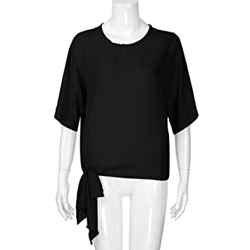 Clearance Women Shirt LuluZanm Knot Tie Front Casual Basic Half Sleeve Loose Fit Tee Top T