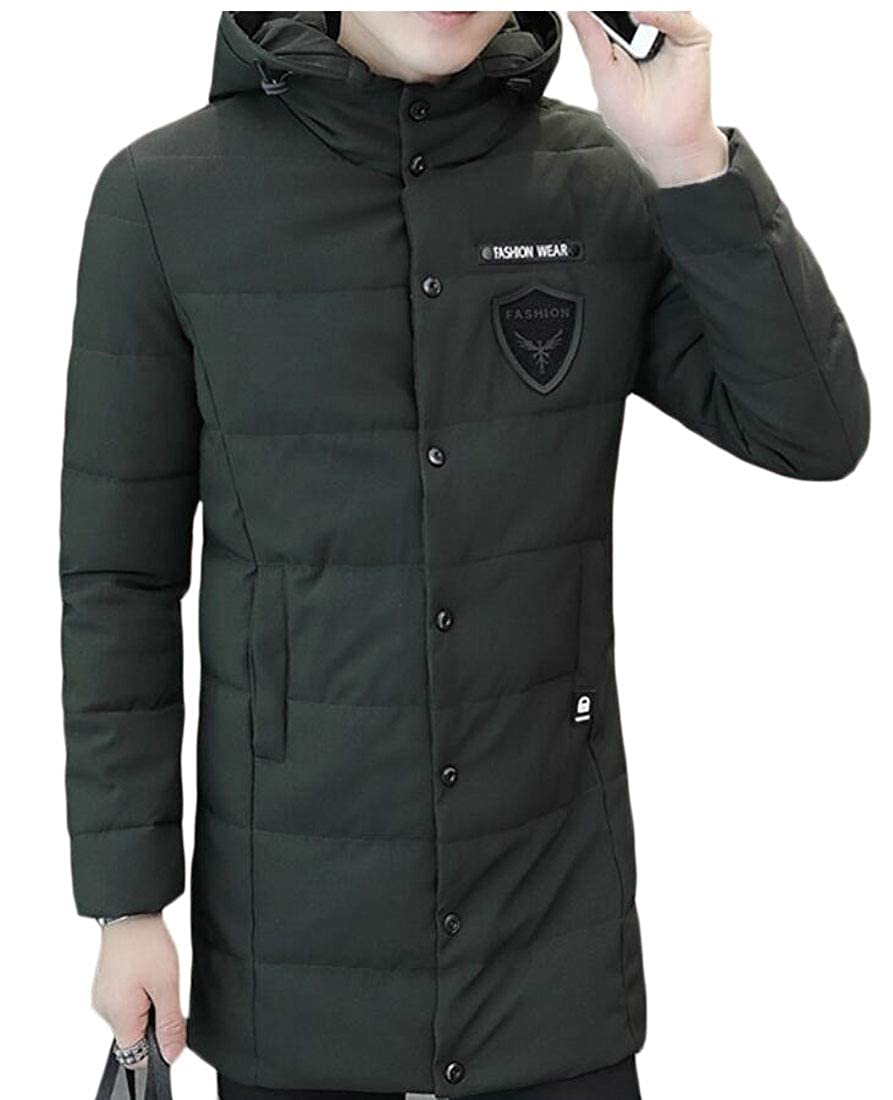 XTX Mens Stylish Thicken Warm Stand Collar Solid Padded Quilted Coat Puffer Jacket Black 2XL