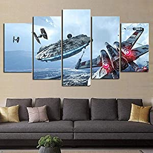 ZKPGUA Prints on Canvas Hd Print 5 Pieces Canvas Star Wars Space Fighter Poster Paintings On Canvas Wall Art for Home Decoration (Size C) No Frame