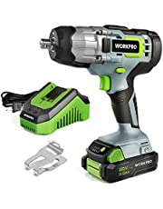"""WORKPRO 20V Cordless Impact Wrench, 1/2"""" Chuck - 320 ft-lb Torque, 2.0Ah Li-ion Battery with 1 hour Fast Charger, Belt Clip for Easy Carrying"""