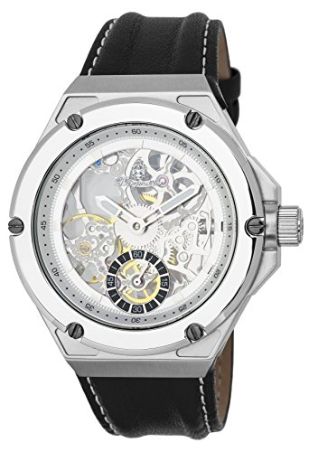 Burgmeister Men's Mechanical Hand Wind Stainless Steel and Leather Casual Watch, Color:Black (Model: BM232-102)