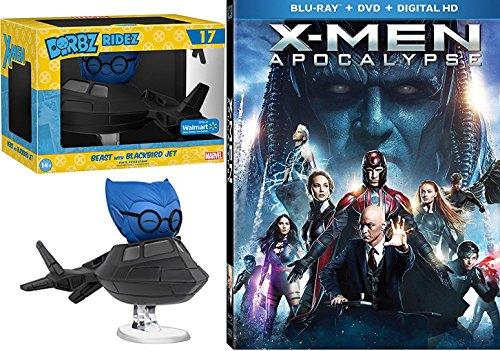 Marvel Beast with Blackbird X-Men: Apocalypse (Blu Ray + DVD + Digital HD) Cinematic Universe Super Hero DVD Funko Vinyl Figure Bundle