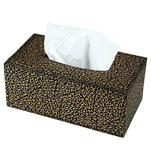 YJY PU Leather Tissue Holder Box Cover - Decorative Kleenex Facial Paper Dispenser Case for Bathroom Toilet Kitchen Office Car - Rectangle 10 inch (03 Black Gold)
