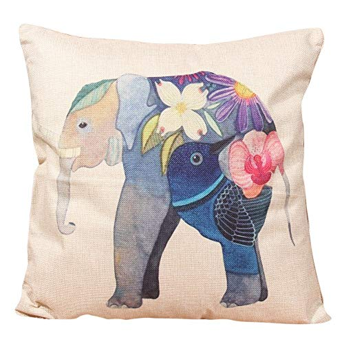 - Cushion Cover - Christmas Elephant Pattern Printed Cushion Covers Cotton Linen Pillow Cover Nordic Home Decorative - Queen Bright Tropical Pillow 22x22 Made 16x16 Home Horse Grey