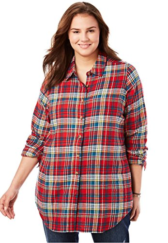 Woman Within Plus Size Classic Flannel Shirt - Red Multi Plaid, 3X - Multi Plaid Flannel