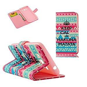 MOLLYCOOCLE Fashion Style Wallet Card Case Magnetic Design Flip Folio PU Leather Cover Standup Cover Case with Crown Triangle Tribal Pattern for Samsung Galaxy Grand 2 G7106