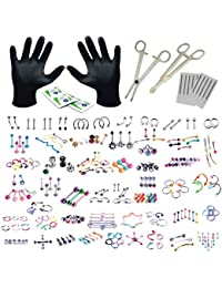 156PC Body Piercing Kit Lot 14G 16G Belly Ring Labret Tongue Tragus Random Mix Jewelry