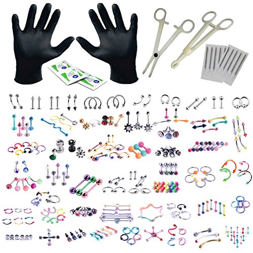 - BodyJ4You 156PC Body Piercing Kit Lot 14G 16G Belly Ring Labret Tongue Tragus Random Mix Jewelry