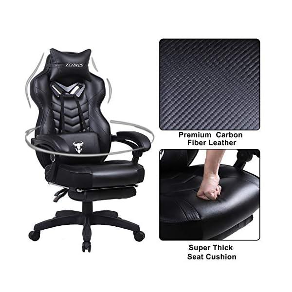 Zeanus Chaise Gaming pour Adultes, Fauteuil Gamer avec Massage, Chaise de Jeu avec Repose-Pieds, Inclinable Chaise…