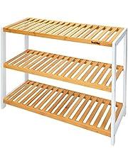 SortWise ® 12-Pair Shoes Rack Bamboo, 3-Tier Multifunctional Shelf Organizer for Home Hallway Bathroom Living Room