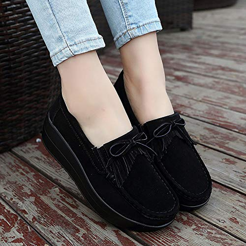 Yao Women Snail Fringed 41 Fashion Single Bottom Thick Leather Peas Shoes Black rA4grwqHn