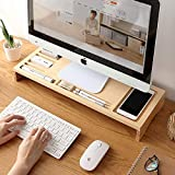 Caramelized Bamboo Storage Holder with Pen Box Key Organizer Protect The Neck Increase Rack Keyboard Cover Office Monitors Holder Phone
