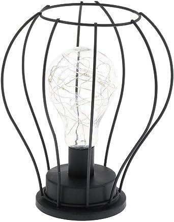 Lámpara de mesa de alambre LED Operado con pilas Metal vintage Jaula industrial Luz de escritorio Lámpara de mesa de noche Lámpara de mesa de Hierro Alambre de arte Blanco cálido (A):