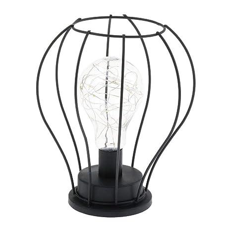 Lámpara de mesa de alambre LED Operado con pilas Metal vintage Jaula industrial Luz de escritorio Lámpara de mesa de noche Lámpara de mesa de Hierro ...