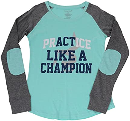 7e5d5ca56cf2 Amazon.com: Snowflake Designs Practice Like a Champion Long Sleeved Mint  and Grey Shirt (Adult Extra Small): Sports & Outdoors