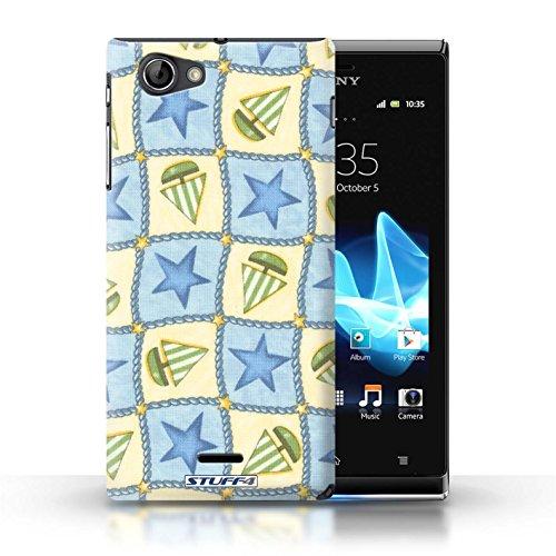 Etui / Coque pour Sony Xperia J (ST26i) / Bleu/Vert conception / Collection de Bateaux étoiles