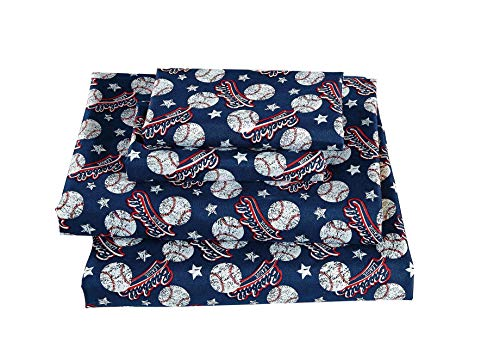 Linen Plus Queen Size 4pc Sheet Set for Teen Boys Baseball Blue Red White All Star League New