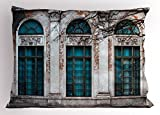 Ambesonne Street Pillow Sham, Historic Apartment Wall View with Tall Window Openings Classic Style Ornamentations, Decorative Standard King Size Printed Pillowcase, 36 X 20 inches, Multicolor
