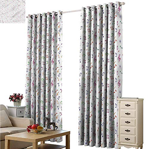 (Fakgod Thermal Insulating Blackout Curtains Music Watercolor Sonic Artwork Grommet Curtains for Bedroom W96x72L)