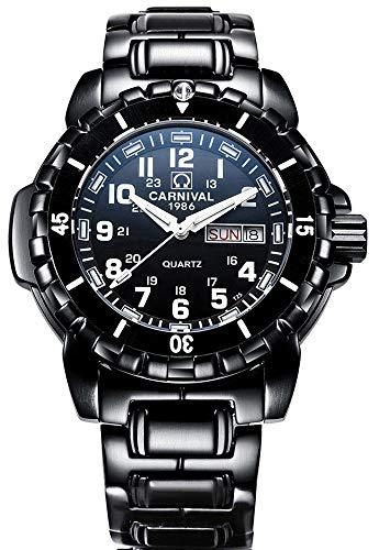 Men's Outdoor Military Tritium Super Bright Self Luminous Blue Light Quartz Watch Large Dial Black (Steel Band) ()