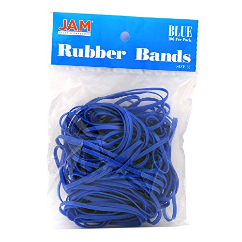 JAM PAPER Colorful Rubber Bands - Size 33 - Blue Rubberbands - 100/Pack -