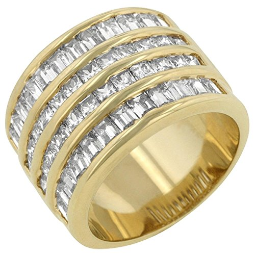 4 Row Cubic Zirconia Studded Gold Colored Cocktail Ring, Size 10