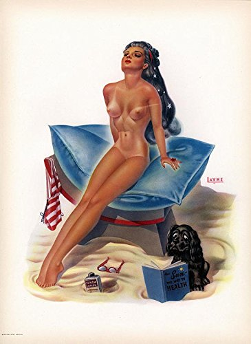 Vintage 1950s Original Large Louis F. Dow Calendar Company Pin-Up Girl Art Print Lithograph Nude Sunbathing Goddess By Bill Layne