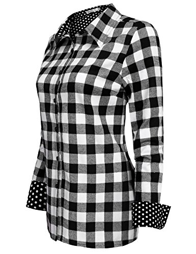 Women Plaid Shirt, Jingjing1 Ladies Casual Roll Up Sleeve Button Down Boyfriend Shirt,Black,XX-Large (Wear Check Plaid)