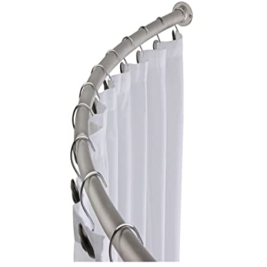 "MINEL Curved Shower Curtain Rod, Expandable from 42"" to 72""/ Added Space, Brushed Nickel Finish"