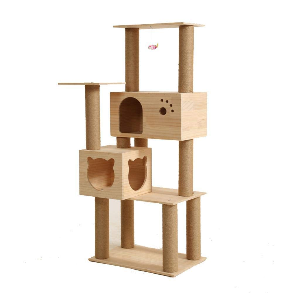 Hexiansheng Cat Climb Trees Solid Wood cat Supplies cat Claw Cylindrical cat Litter Solid Wood pet 60  40  150
