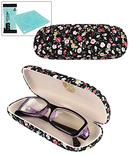 JAVOedge Black Small Floral Print Reading Glasses Case