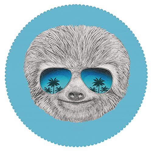 iPrint Mildewproof Round Tablecloth [ Sloth,Portrait of Sloth with Mirror Sunglasses Exotic Palm Trees Hawaiian Beach Hipster,Grey Blue Aqua ] Home Accessories