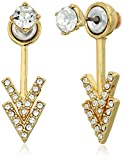 Rebecca Minkoff Stud Double V Front Back Gold with Crystal Earring Jackets