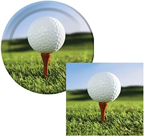 Sports Fanatic Golf Luncheon Napkins & Plates Party Kit for 8 -