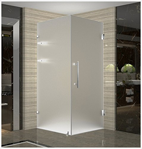 "Aston Aquadica GS 32"" x 32"" x 72"" Completely Frameless Frosted Glass Square Shower Enclosure with Shelves in Stainless Steel"