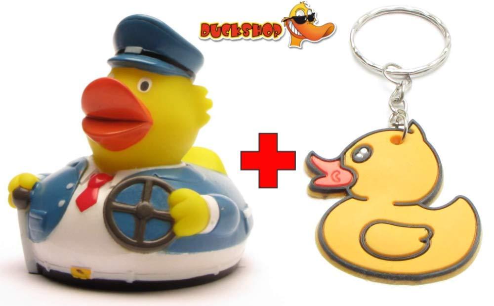 Duckshop I Badeente I Quietscheente I Ente Busfahrer inkl L: 7,5 cm Badeenten-Schl/üsselanh/änger im Set