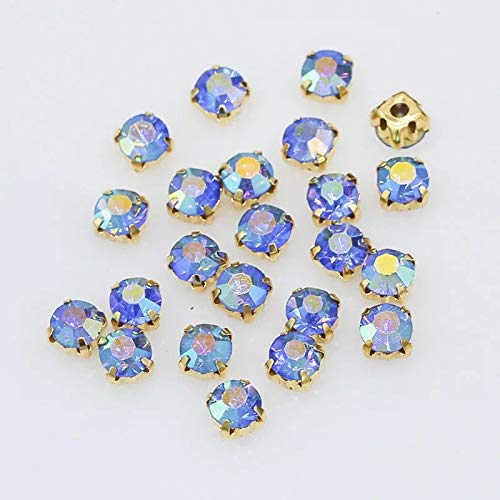 - 100pcs Sew on Rhinestones Sapphire AB Round Chatons Gold Color Prong Setting 6mm (Sapphire AB)