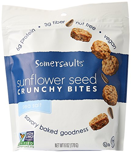 Somersaults - Crunchy Nuggets Sunflower Seed Snacks Pacific Sea Salt - 6 (Daily Health Nuggets)