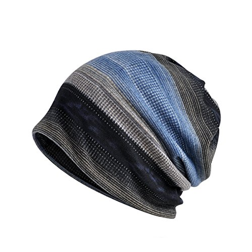 Taotopia Unisex Striped Beanie Chemo Cap Baggy Slouchy Hat Cap (Blue Grey) - Lightweight Striped Cap