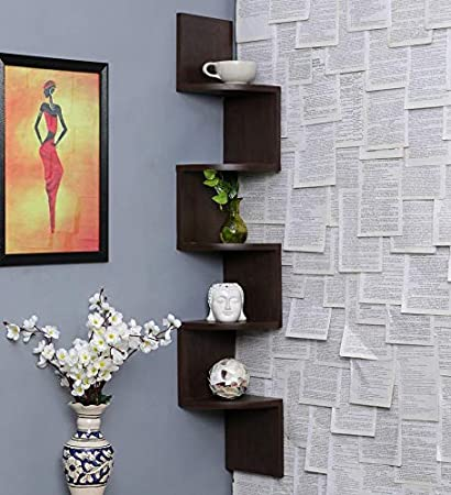 Furniture Cafe Zigzag Corner Wall Mount Shelf Unit/Racks And