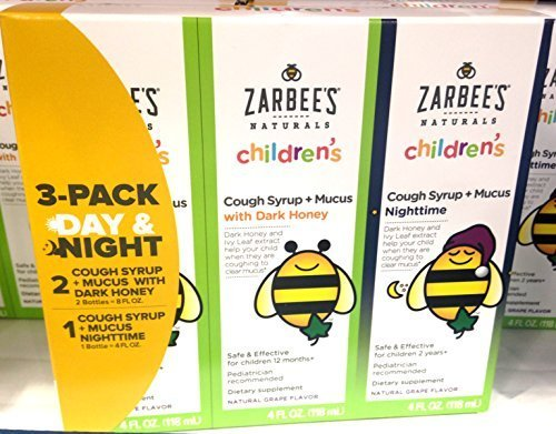 Zarbee's Child Natural Cough Syrup 3-day Pack Day/night Dk Honey Mucus Relief - 4 oz each (12 oz total) Childrens Formula Cough Syrup