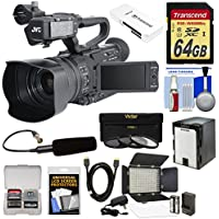 JVC GY-HM200SP Ultra 4K HD 4KCAM Professional Sports Production Camcorder & Top Handle Audio Unit + XLR Microphone + 64GB Card + Battery + LED Video Light Kit