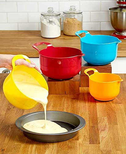 Gourmet Home Products 4 Piece Polypropylene Batter Bowl Set with Non Skid Bottom, Red