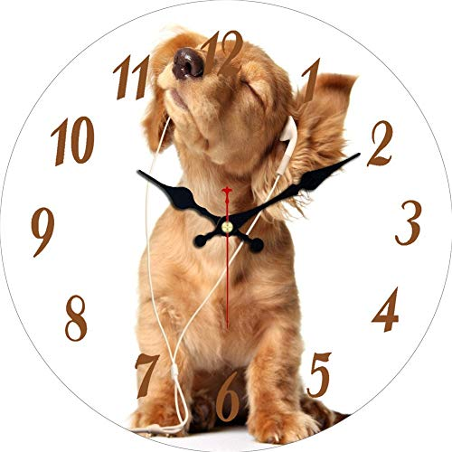 3 Animal Wall Clock - MEISTAR Wooden Animal Design Kitchen and Office Art Wall Clock,12 Inch Brown Cute Dog Pattern Round Wall Clock for Living Room,Dining Room,Study Room